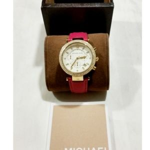 Michael Kors Watch Parker Gold Pink Leather 2297